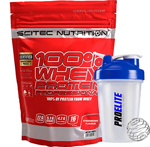 Scitec Nutrition 100% Whey Protein Professional 500g Powder - Strawberry + Shaker