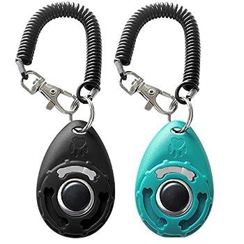 HoAoOo Pet Training Clicker with Wrist Strap - Dog Training Clickers  New Black + Blue
