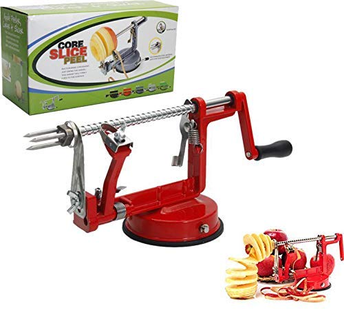 weepo Apple Peeler, 3-in-1 Stainless Steel Hand-cranking Apple Peeler Slicer Peeler Red (US STOCK)