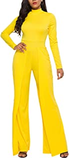 Ophestin Womens Long Sleeve Jumpsuit for Work Wide Leg Pants Rompers with Belt