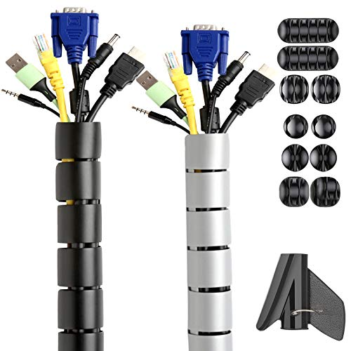 Kabelschlauch Schwarz, Wukong Kabel Schutz 2 Stücke 2m ∅22mm Kabelhülle in Schwarz und Grau zum Kabel Verstecken mit 10 Stücke Kabelkanal für Kabelmanagement