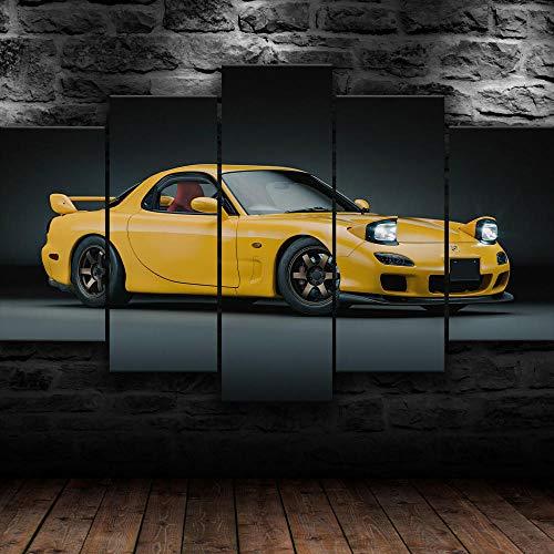 KOPASD Coche Deportivo Mazda RX 7 JDM 5 Panel Lámina del Paisaje del Arte impresión en Lona Cuadros de la Pared de la Foto,para el hogar decoración Moderna impresión