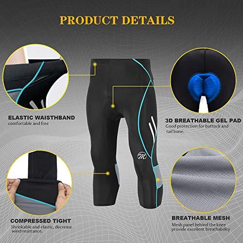 MEETWEE Herren 3/4 Radhose Fahrradhose, Kompression Radlerhose Leggings Radsport Hose für Männer Elastische Atmungsaktive 3D Schwamm Sitzpolster - 4