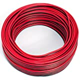 Cable de altavoz 2 x 0,50 mm², 25 m, rojo y negro, CCA, cable de audio, cable de caja