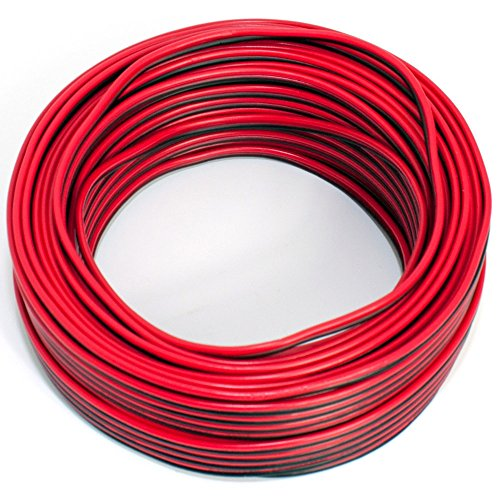 Cable para Altavoz (2x 0,50mm2–Caja de Cable de Audio–Cable 0,50mm2-25m Rojo y Negro