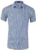 Evelure Uomo Camicia a Maniche Corte Camicie a Quadri Casual in Maniche Shirt Slim Fit Uomo Camicia a Maniche Corte Camicie a Quadri Casual in Maniche Shirt (Blu Chiaro,S)