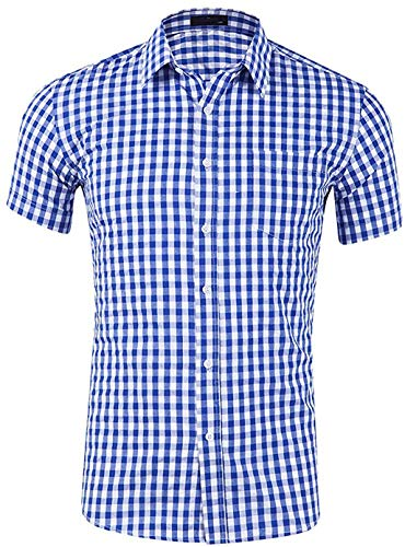 Evelure Herren Hemd Kariert Kurzarm Trachtenhemd Kentkragen Shirts Regular Fit Businesshemd (Blau,M)