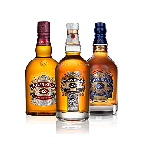Chivas Regal Scotch Whisky - Juego de 3 Botes de Whisky (12 años, 18 años, 25 años, Alcohol, 700 ml)