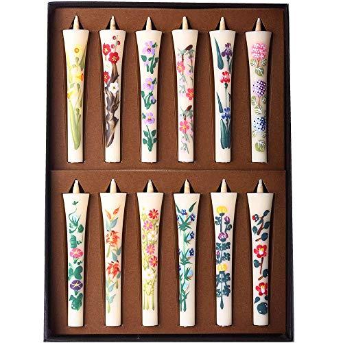小池ろうそく店 手描き 絵ろうそく 花ろうそく ギフト 「四季の花(10�p) 12本入り」進物 ギフト 贈り物 お盆 お彼岸