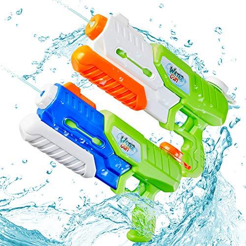 Paochocky Juguete de Super Pistolas de Agua 2pcs*600ml Diversión Potente Chorro de Agua con Alcance de hasta 10m para Verano Piscina Al Aire Libre Jardin Fiesta Batalla de Agua para niños Adultos