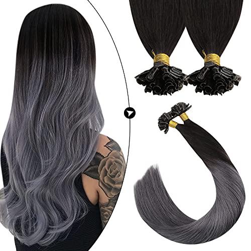 Ugeat U Tips Remy Brasilianische Echthaaar Naturlich Schwarz Ombre Silber 50cm Keratin Tip Hair Extensions Bonding Set mit Haare 50 Stuck 50 Gramm