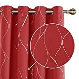 Deconovo Cortinas Salon Modernas Aislantes Térmicas Habitacion Opacas Estilo Moderno Elegante con Ojales 2 Piezas 132 x 229 cm Rojo