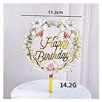 Alowa ケーキトッパー, 花の幸せな誕生日アクリルパーティーケーキトッパーバラの花の誕生日ケーキのトッパーの装飾子供のための誕生日パーティーケーキの装飾 (Color : 2)