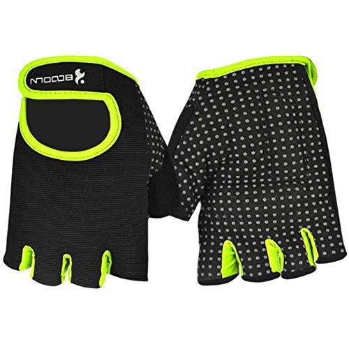 Radfahren Fitness Handschuhe für Herren und Damen Workout Gewichtheben Bodybuilding Fingerlos Trainingshandschuhe Gelb L