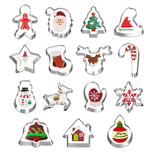 Hibery 15 Pcs Christmas Cookie Cutters, Holiday Cookie Cutters Including Snowflake, Snowman, Gingerbread, Christmas Tree, Gingerbread Cookie Cutter and More