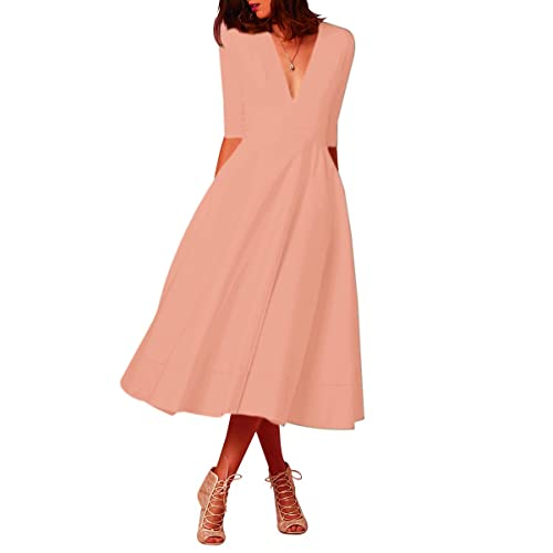 YMING Women s Elegant Cocktail Maxi Dress Deep V Neck 3 4 Sleeve Vintage  Pleated Dress 2e722763d