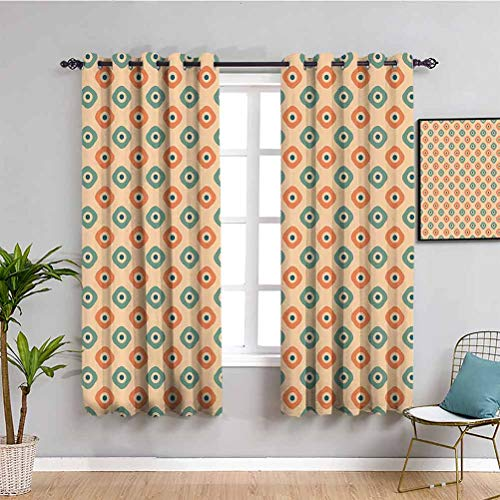 Vintage Thermal Insulated Room Darkening Curtains Rounded Squares in Vertical Form with Blue Dots Nostalgic Classical Tiling Repeatable use W63 x L45 Inch Orange Teal Peach
