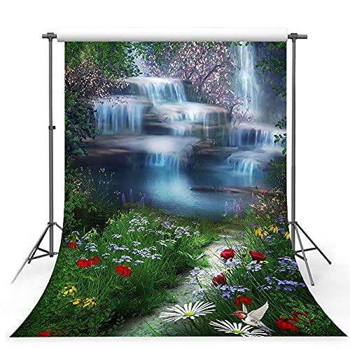 Fondos fotográficos 150x220cm Fondo de fotografía de Vinilo Decoraciones para niños Fondo de Cascada de Cuento de Bosque Justo para Estudio fotográfico-5x3FT