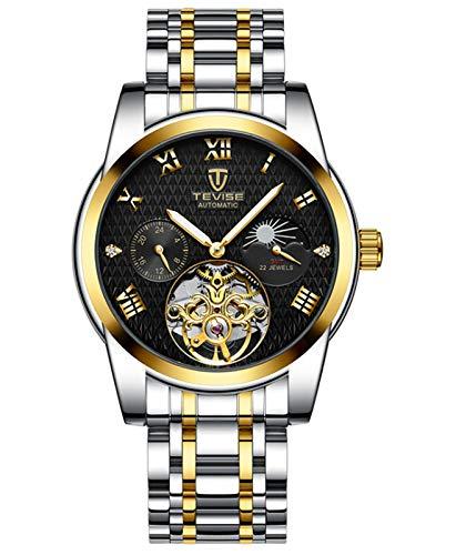 MLHXHX Tourbillon - Reloj mecánico automático para hombre, esfera grande, calendario de seis manos, color negro
