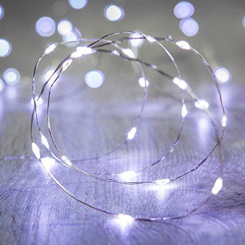 Lights4fun 2X 50er LED Micro Lichterkette weiß Batteriebetrieb mit Zeitschaltuhr