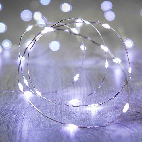 20er LED Draht Micro Lichterkette weiß Batteriebetrieb Lights4fun