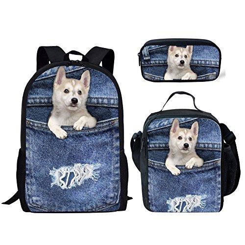 INSTANTARTS Siberian Husky Shoulder Backpack Satchel Book Bag Bookbag Set Lunch Box Pencil Case