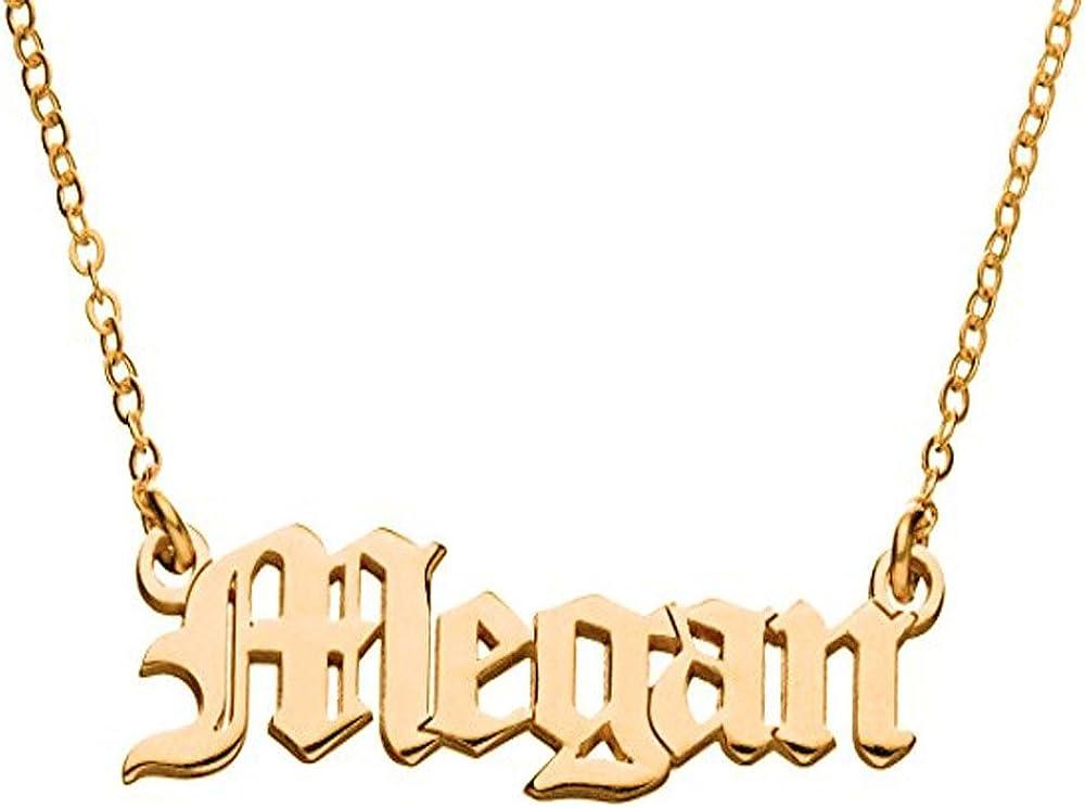 Personalized Old English Font Name Custom Pendant Necklace Retro Nostalgia Style