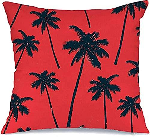 BONRI Fundas de almohada decorativas de poliéster Relax Aloha Season Label Hawaiano Vintage Surf Palma Temporada Tropical Exótico Estilizado Amarillo Rojo Cuadrado Funda de Almohada 45 x 45 cm
