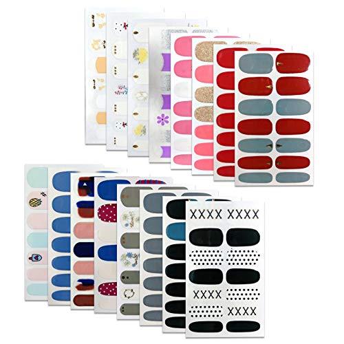10 Blatt Nagelverpackungen Nagel Kunst Aufkleber Aufkleber Nagelstreifen Klebstoff False Nagel Design Maniküre-Set mit 1-teiligen Nagelpuffer-Dateien für Frauen Mädchen