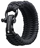 The Friendly Swede Bracelet de Survie Trilobite en Paracorde avec Maillon d'attache Noir en Acier Inoxydable -...