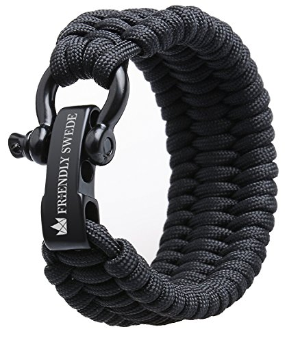 The Friendly Swede Pulsera de Supervivencia Trilobite en Paracord - Tamaño Ajustable - 3 Tamaños Disponibles - GARANTÍA DE por Vida (Negro, L/XL)