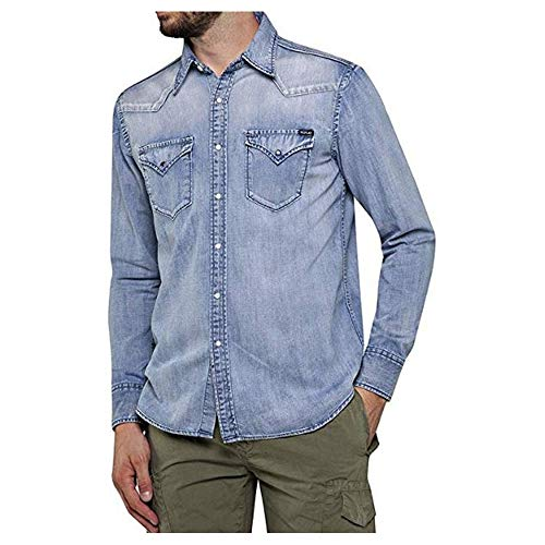 REPLAY M4023 .000.26c 616 Camisa Vaquera, Azul (Light Blue 10), XXL para Hombre