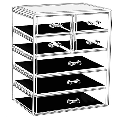 Makeup Organizer Acrylic Cosmetic with 7 Storage Drawers and Jewelry Display Box One-piece