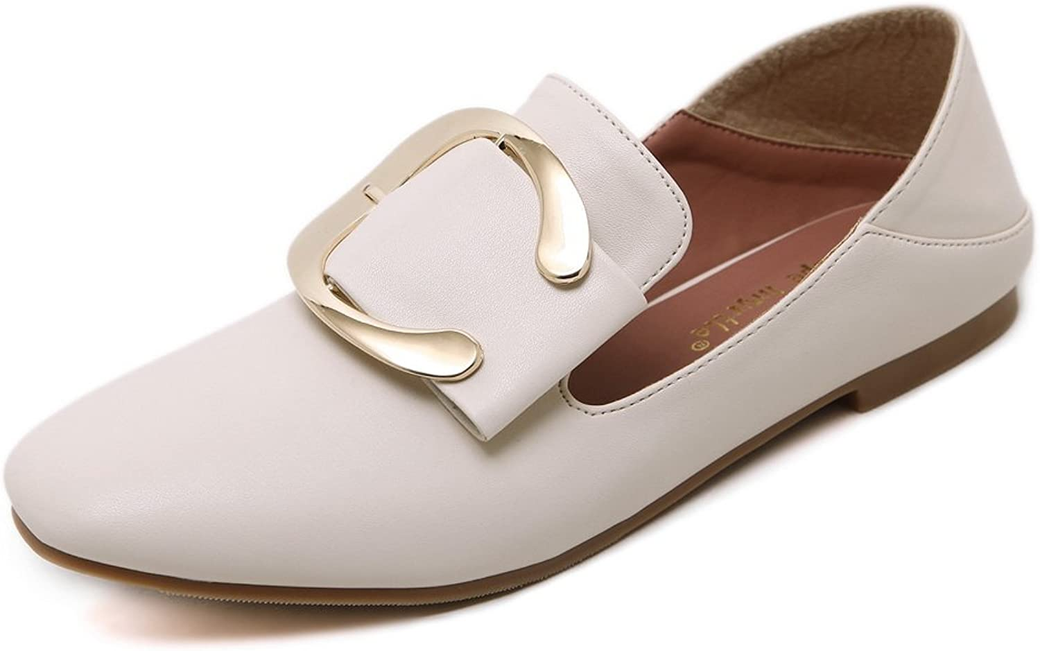 AdeeSu Womens Square-Toe Buckle Low-Cut Uppers Microfiber Flats shoes