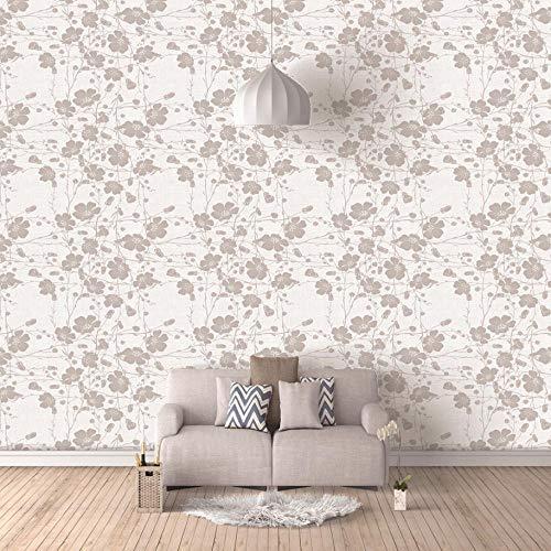Fototapete 3D Tierischer Graue Blumen 3D Fototapeten Wandbild Motivtapeten Vlies-Tapeten Wandtapete Tapete Wohnzimmer Schlafzimmer Wallpaper Wandbild 250X175Cm