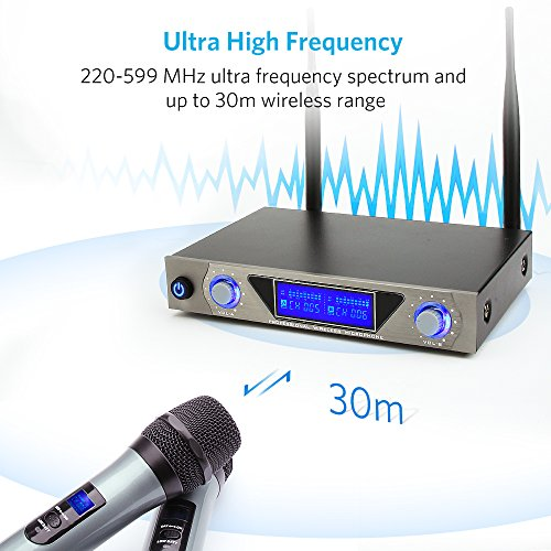 Wireless Mikrofon, Moreslan UHF Funkmikrofon Set Karaoke Anlage Funk Mikrofon Kabelloses Mikrofon Dual 2 Handmikrofon Mikrofone mit Dynamischen LCD Display für Karaoke, Party, Konferenz, Hochzeit usw.