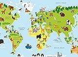 SET 4 TOVAGLIETTE americane VINILE 33x45 cm per bambini diverse fantasie OTTIMA IDEA REGALO ideali per la scuola (Mondo)