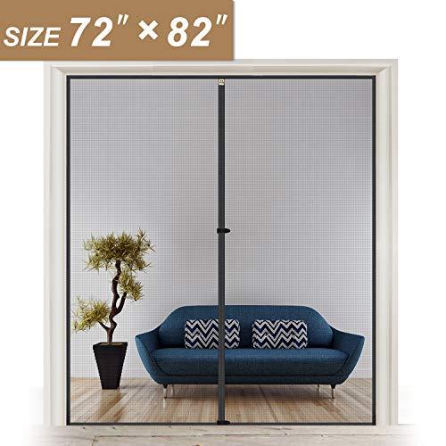 """Wide Door Screen with Magnets Fits Door Size 72, Retractable Mosquito Net Hanging Tools Free Installation Fit Doors Size Up to 72""""W x 82""""H Patio Walk Thru Sliding Door"""