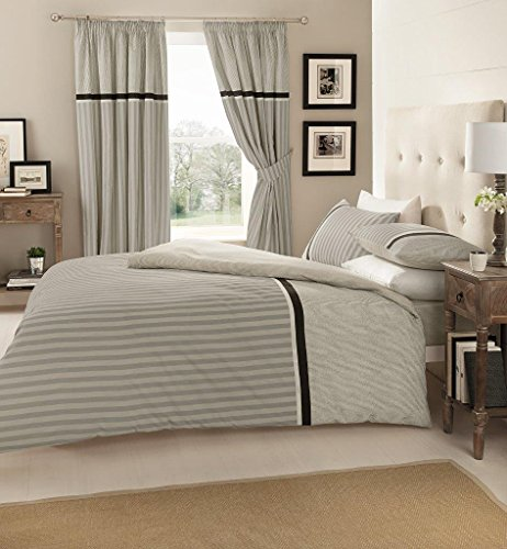 WOT 3 Pcs Valeria Stripe Double Duvet Cover Set With 2 Pillow Cases Bedding Set -Grey