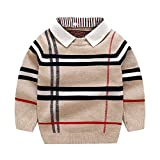 Children Boys Girls Knitted Sweater Cardigans Cute Plaid Jumper Autumn Winter Long Sleeve Jumper with Detachable Collar (xing 100) Beige