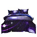 NTBED Galaxy Comforter Set Full Size Purple 3-Pieces Microfiber Universe Reversible Quilt Sky Oil Printing Outer Space Bedding for Boys Teens Girls Kids (Purple, Full)