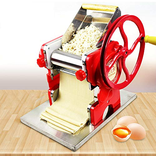 Commercial Automatic Pasta Maker Machine Manual Dumpling Skin Pressing Dough Mixer Multi-function Noodle Pasta Spaghetti Roller Maker Making Machine for Commercial Home Use Kitchen Helper Tool