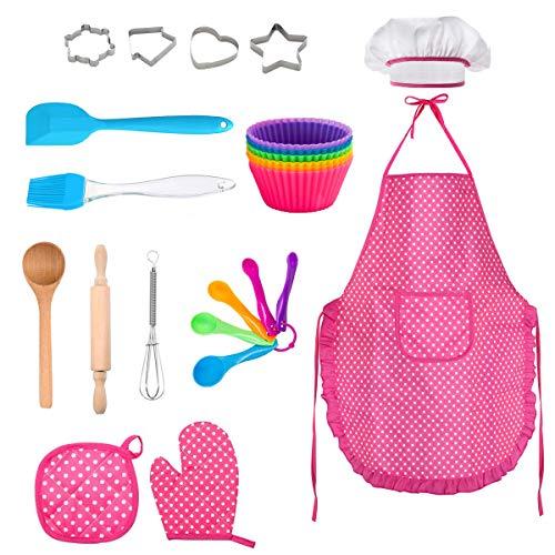 FUQUN Conjunto de Juego de rol de Chef con , 24pcs Set de Cocina para Hornear para Niños Cocina y Hornear Juego de Cocina Juego de rol Kits