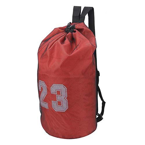 Wosune Bolso de Lazo del fútbol, paño de Oxford de la Mochila del fútbol para la Aptitud(Red)