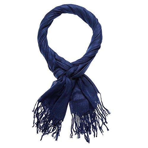 Happy Edition Klassiek elegante sjaal met franjes, hoogwaardig doosje (blauw)