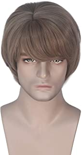Miss U Hair Men's Short Straight Wave Light Brown Wig Adult Party Cosplay Wig