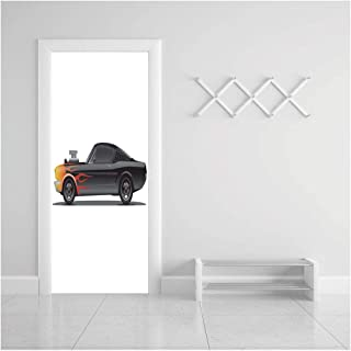 HappyShopDecoration Door Decal Wall Murals 3D Vinyl Wallpaper Stickers for Room Decor,30.3x78.7 inches,Cars