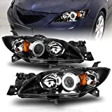 AmeriLite for 2004-2009 Mazda 3 4-Door Sedan Xtreme LED Halos Projector Black Replacement Headlights Pair - Passenger and Driver Side
