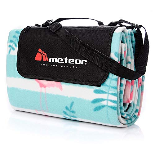 Meteor Large Foldable Waterproof Fleece Picnic Blanket with Carrying Handle Strap and Pocket Outdoor Camping Rug Beach Hiking Travel Rugby (Flamingo, XL - 180 x 200 cm)