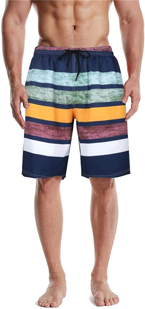 DIOMOR Retro Striped Contrast Colors Swim Trunks for Men Vintage Drawstring Quick Dry Beach Shorts Bathing Suit